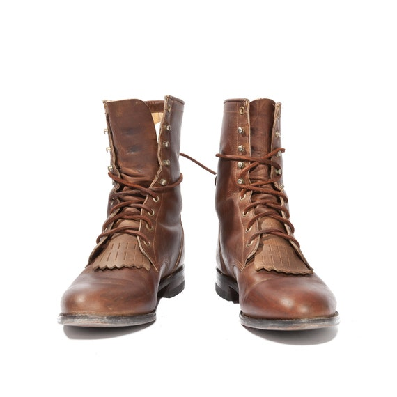 Brown Justin Roper Boots in All Leather Lace Up Rustic Style for Men's Size 10 D