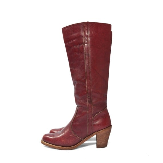 Stacked Heel Oxblood Campus Boots by Dexter Western Fashion Women's size 8