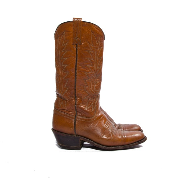 s vintage cowboy boots brown leather western by shopndg