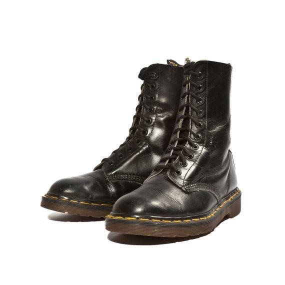 Brilliant Vintage Combat Boots  Black Leather Army Boots Men 6 Women 8