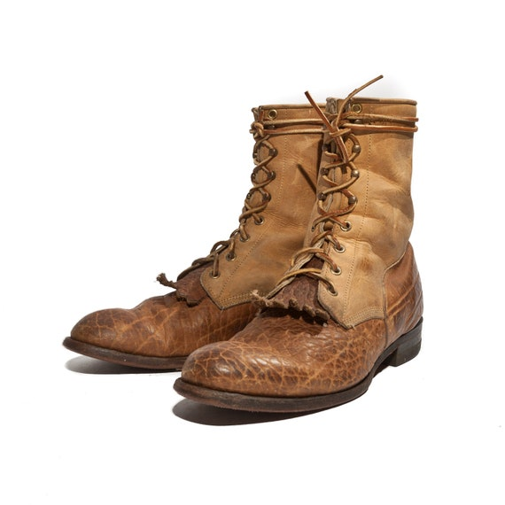 s two tone justin roper boots and brown pebbled