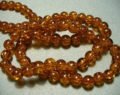 Crackle Glass Beads Amber 8mm