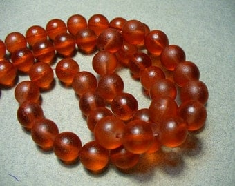 Beach Glass Beads Red/Orange Frosted Round 10MM