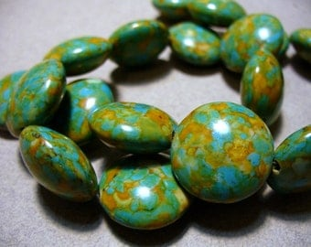 Mosaic Turquoise Beads Gemstone Coin 18mm