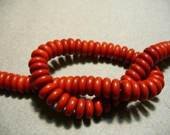 Magnesite Beads Gemstone Red Orange  Rondelle 8x4mm