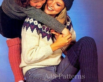 PDF Knitting Pattern - Family Chunky Nordic Knits- Sweaters Hats & Legwarmers - Instant Download