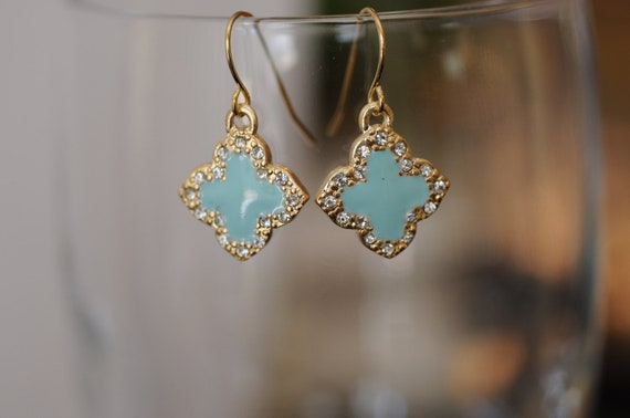 Dangle Earrings, Gold and Turquoise Four Leaf Clover flowers Earrings, Clover Earrings, Turquoise Earrings