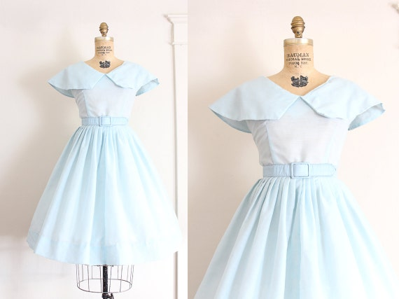 vintage 1950s dress // 50s powder blue cotton day dress // take me out to sea