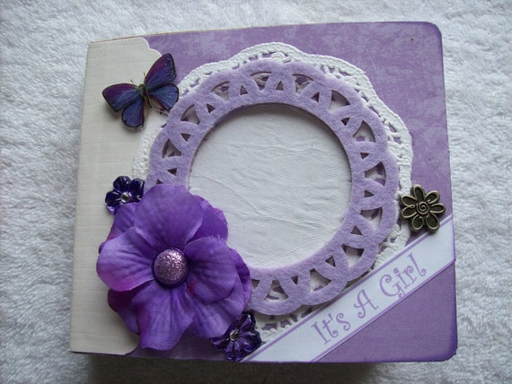 Scrapbook Mini Paper Bag Album Purple for Baby Girl w/PREMADE PAGES