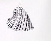 Glass Heart Ornament Suncatcher Venetian Style Black and White stripes luxury gift