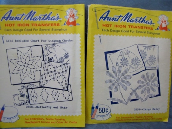Hot Iron Transfers Vintage Aunt Martha's Apron Embroidery Gingham Check Butterfly Star Daisy