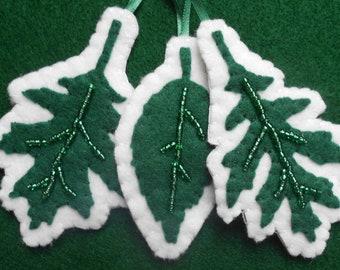 Beaded Felt leaves-set of 3 ornaments