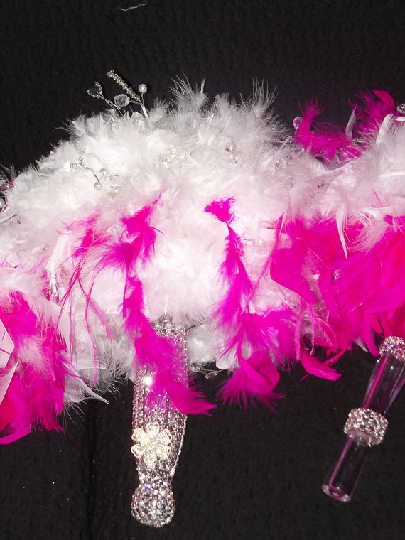 Wedding Bouquets With Feathers And Crystals : Bridal crystal feather bouquet and bridesmaid