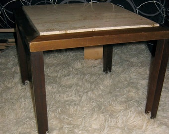 Italian Travertine Marble top Table.  Small vintage side table.  Hollywood Regency, Mid century modern, Danish Modern, Eames era.