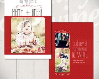 Christmas Card Template: White Christmas D - 5x7 Holiday Card Template for Photographers