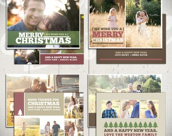 Christmas Card Templates: Good Tidings - Set of 4 5x7 Holiday Card Templates