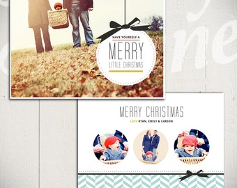 Christmas Card Template: Merry Little Christmas A - 5x7 Holiday Card Template for Photographers