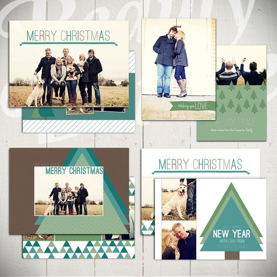 Christmas Card Templates: O Christmas Tree - Set of 4 5x7 Holiday Card Templates