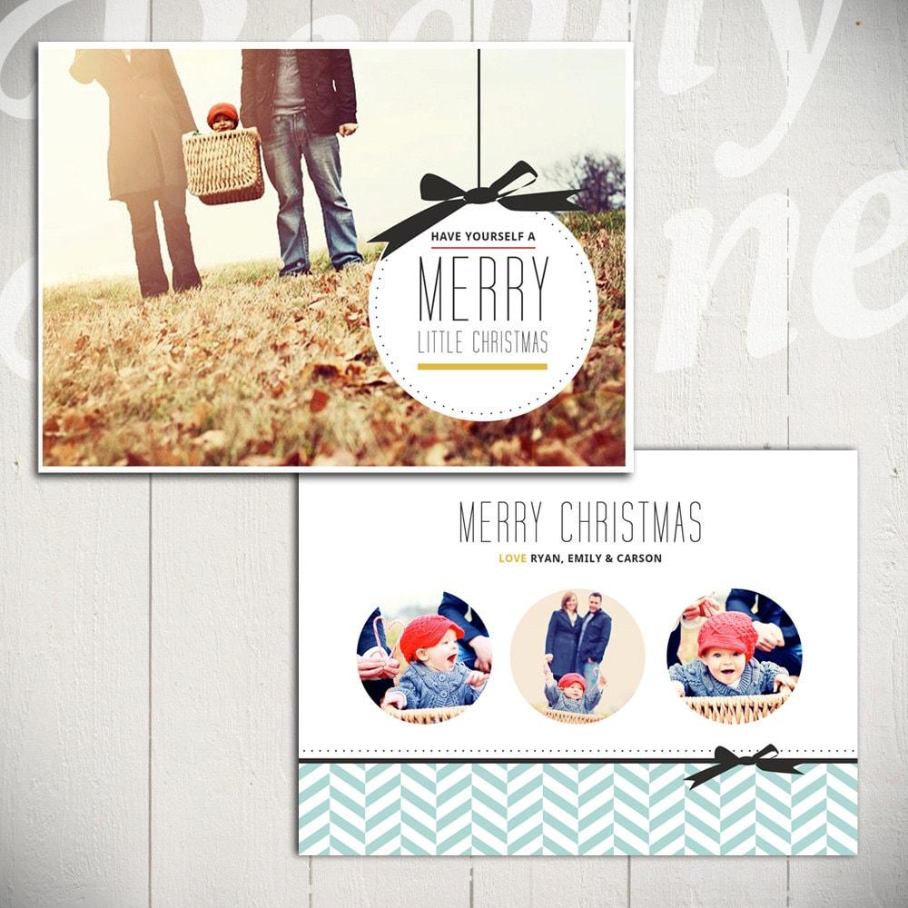 Christmas Card Template Merry Little Christmas A 5x7 – Christmas Card Layout