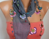 Summer Scarf Shawl - Cotton Weddings Scarves - Cowl with Lace Edge - Gray