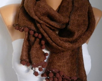 Brown Knitted Scarf Cowl Scarf Winter Scarf Gift Ideas For Her Women's Fashion Accessories Valentine's Day Gift