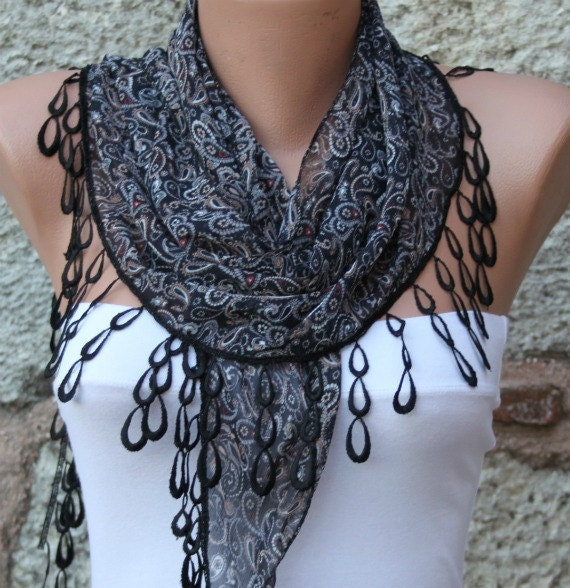 Multicolor Scarf  -  Cowl with  Lace Edge