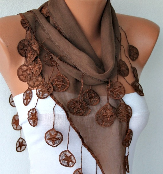 Brown - Shawl Scarf -  Cowl Scarf Cotton Scarf  by Fatwoman