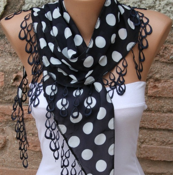 Polka dot  Shawl Scarf -  Cowl with  Lace Edge fatwoman - Bridesmaids Gifts - Black
