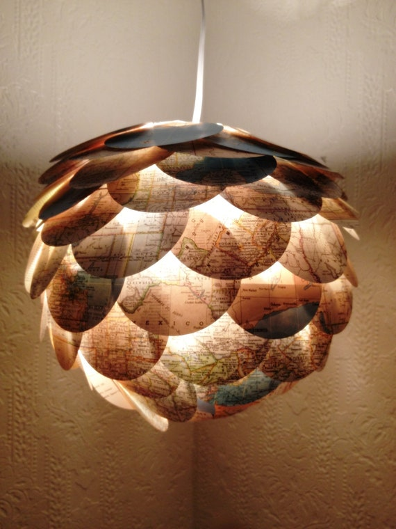 recycled atlas paper lantern by monamiepaperie on etsy