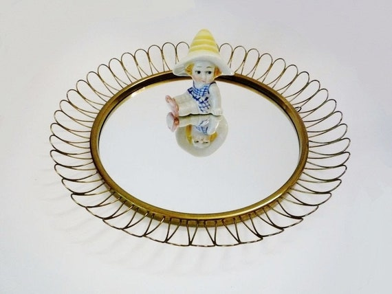 Vintage Golden Wire Mirror