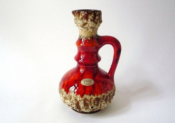 RESERVED - Vintage Fat Lava Jopeko Vase with Handle