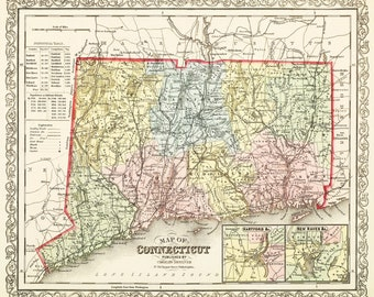 1859 Map Of Connecticut Vintage 16x20 Print Poster