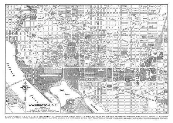 Washington dc Map Poster Washington Map dc Street Map