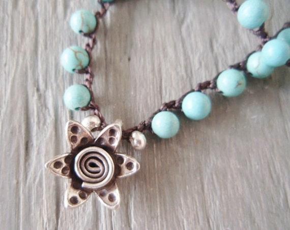 SALE 20% OFF Beachy crochet necklace 'Endless Summer- Turquoise' semi precious stone, aqua blue, rustic Thai silver sun, boho, ready to ship