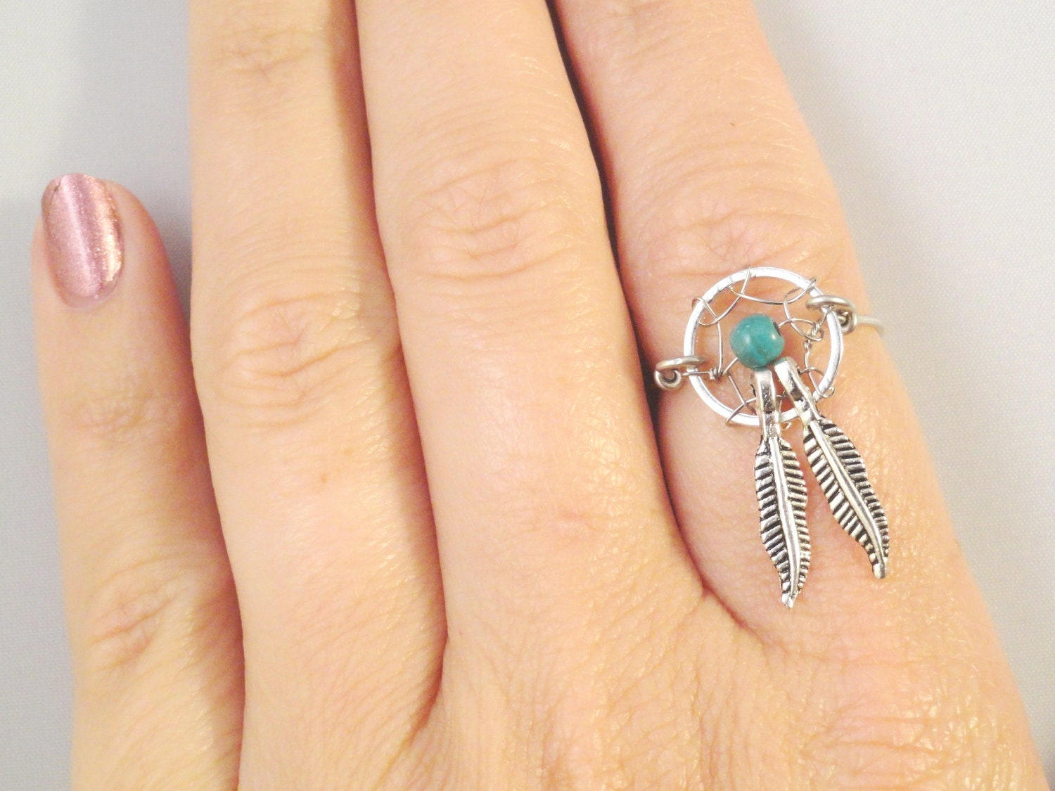 Dream catcher ring with feathers for How to make a double ring dreamcatcher