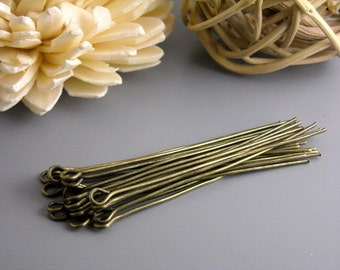 EYEPIN-AB-50MM - 50 Antique Bronze Eyepins, 21 guage...50mm (2 inches)