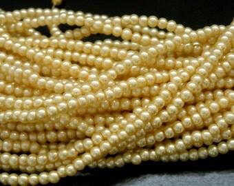 SALE 40% off - CZECH-PEARLVANIL-3MM - Czech Glass Pearl, Vanilla, 3mm, approx. 120 beads