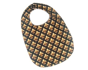 Baby Bib Reversible New Orleans Saints Fleur de Lis Black and Gold