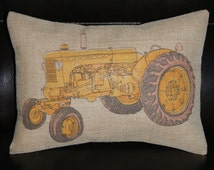Yellow Tractor  Burlap Decorative Pillow Kids, country, mighty machine