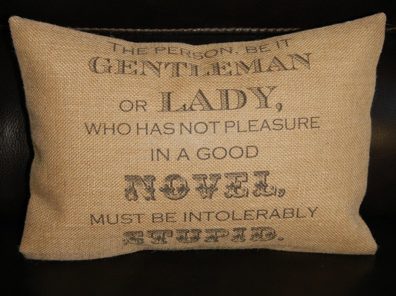 Jane Austen Burlap Pillow literary decor by