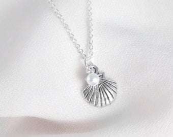 Seashell necklace, seashell and pearl, little mermaid necklace, silver seashell necklace
