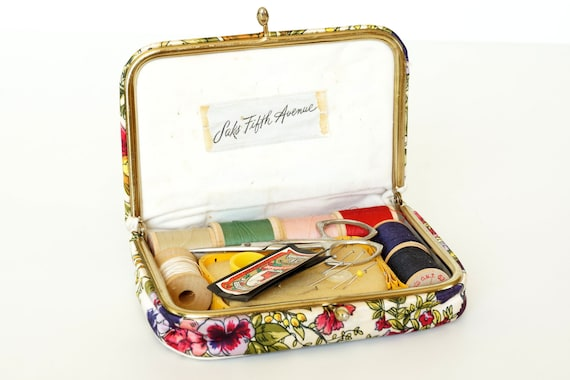 Vintage Saks Fifth Avenue Sewing Set in Floral Purse -  Collectible, Sewing Notions, Supplies