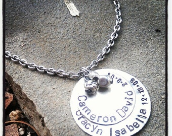 PERSONALIZED Hand Stamped Layered Silver Disc Tag Necklace