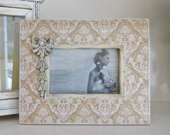Wedding Frame White Damask Wood Carve Bow Bling Anniversary Bride