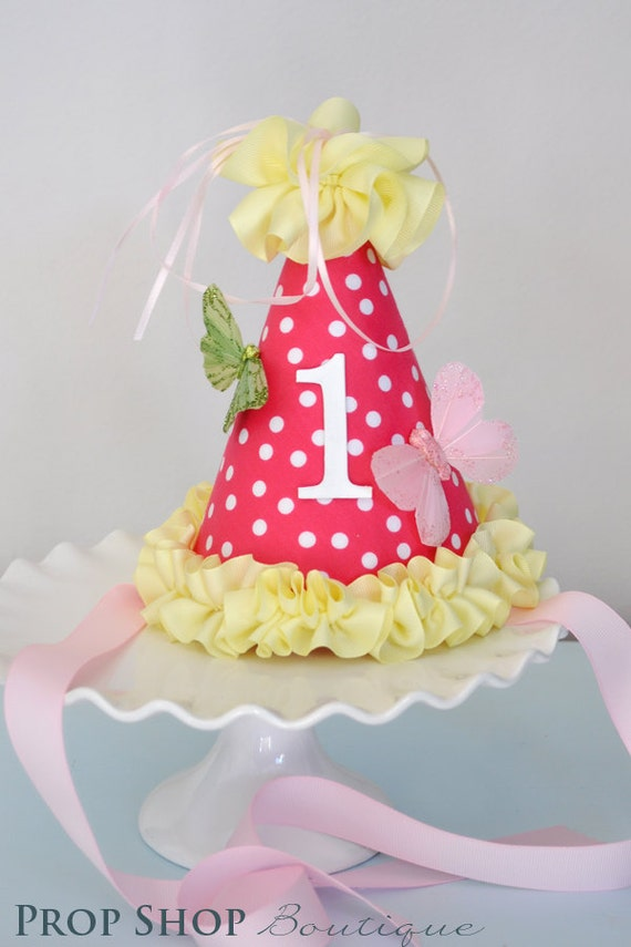 Girls Butterfly Ruffle Birthday Party Hat, Special Occasion