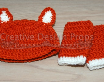 Crochet Hat and Leg warmers Foxy Fox set for newborn baby - Beautiful photo prop or ecxellent Baby Shower gift