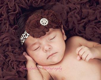 Brown and Leopard Print Headband..Toddler Leopard Print Headband..Animal Print..Baby Headband..Brown Chiffon Flower Headband