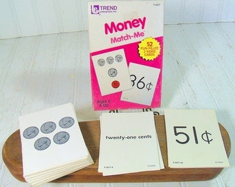 Money Match-Me Flash Cards Collection - Vintage Trend Enterprises Inc - Complete Set of 52 Cards in Original Box