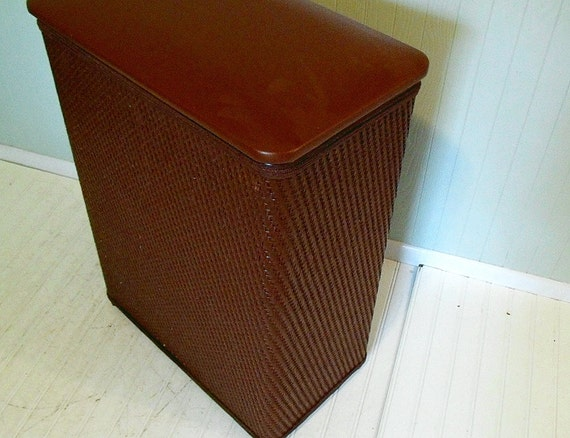 Vintage Large Brown Wicker & Wood Clothes Hamper Original