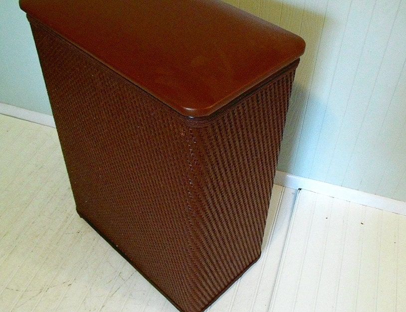 Vintage Large Brown Wicker Amp Wood Clothes Hamper By